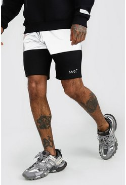 Black MAN Reflective Panel Shorts