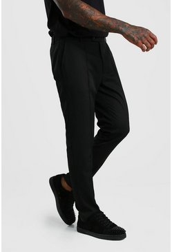 Black Skinny Fit Pintuck Trouser