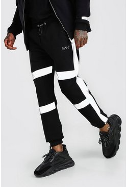 Black MAN Reflective Strip Side Panel Jogger