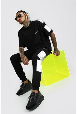 Black MAN Reflective Pocket Cargo Jogger