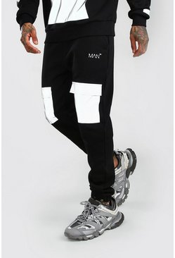 Black MAN Reflective Regular Fit Cargo Jogger With Pocket