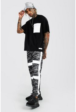 Black MAN Reflective Pocket Oversized Contrast Camo Tee