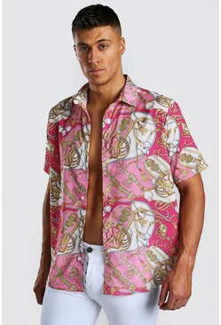 Short Sleeve Shirt In Baroque Print, Pink
