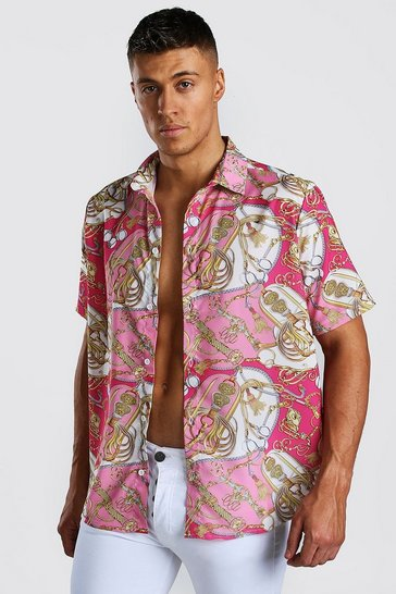 Pink Short Sleeve Shirt In Baroque Print