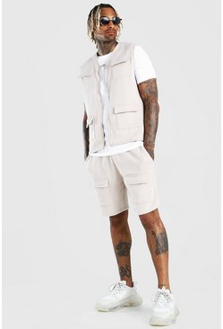 Stone MAN Official 3 Piece Utility Vest T-Shirt & Short