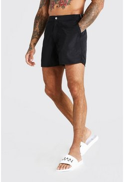Black Mid Length Buckle Detail Smart Swim Shorts