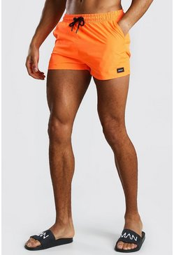 Neon-orange Short Length Swim Short With MAN Badge