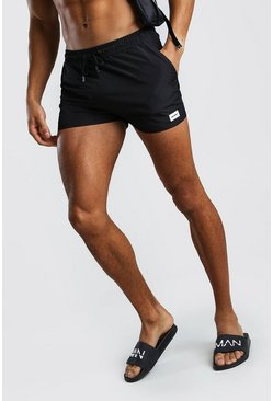 Black Short Length Swim Short With MAN Badge