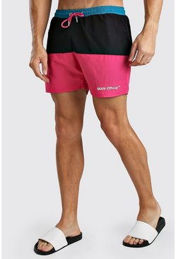 Pink MAN Official Mid Length Colour Block Swim Short