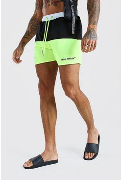 Yellow MAN Official Mid Length Colour Block Swim Short
