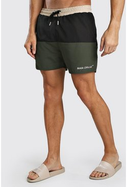 Khaki MAN Official Mid Length Colour Block Swim Short