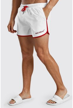 White MAN Official Print Runner Style Swim Short