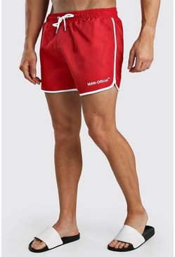 Red MAN Official Print Runner Style Swim Shorts