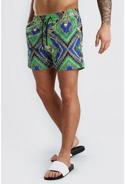 Green Mid Length Swim Short In Baroque Print