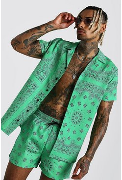 Green Short Sleeve Revere Collar Shirt In Bandana Print