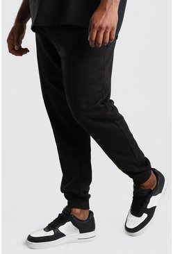 Pantaloni tuta con nervature e firma MAN Big And Tall, Nero