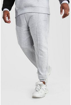 Pantalones de correr con pinza de la firma MAN Big And Tall, Marga gris