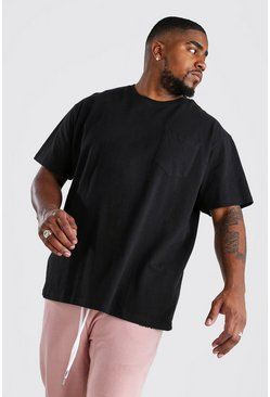 Camiseta holgada con bolsillo Big And Tall, Negro