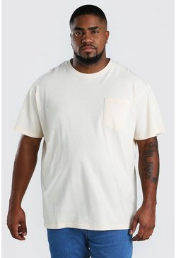 Big And Tall Loose-Fit T-Shirt mit Tasche, Naturfarben