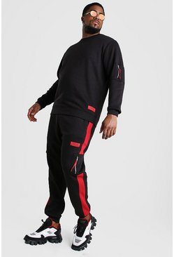Black Big And Tall MAN Offical Sweater Tracksuit
