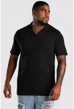 Polo con cuello de solapa Big And Tall, Negro