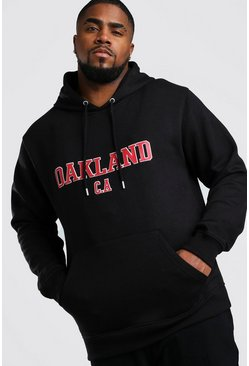 Big And Tall Oakland Print Hoodie, Black