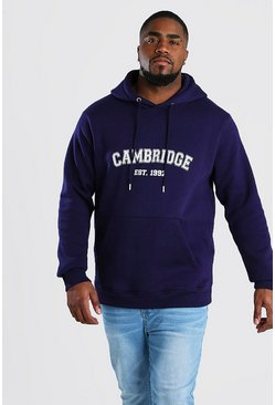 Sweat à capuche imprimé Cambridge Big And Tall, Marine