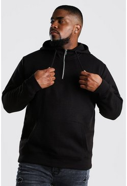 Black Big And Tall Loose Fit Zip Neck Hoodie