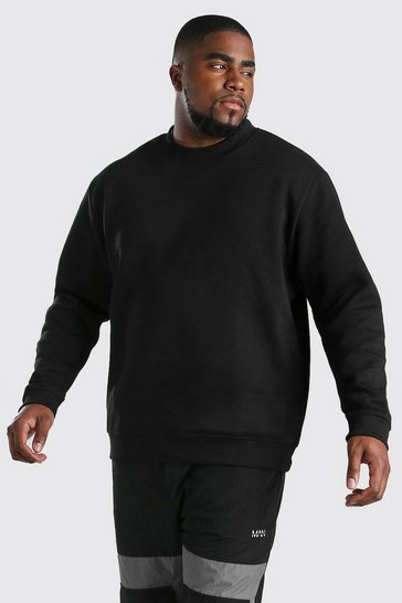 Black Big And Tall Sweatshirt With Extended Neck