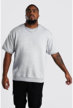Grey Big And Tall Short Sleeve Sweatshirt