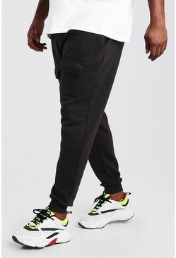 Black Big And Tall Front Pocket Panelled Cargo Jogger