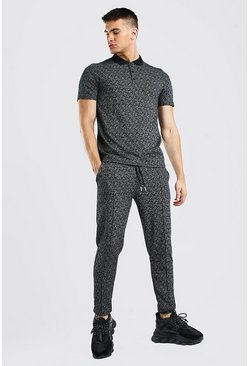 Black Smart Jacquard Polo And Pintuck Jogger Set