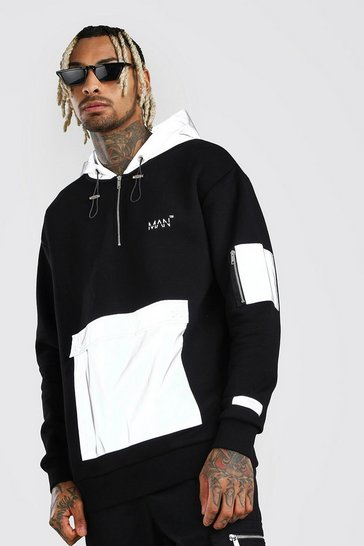 Black MAN Reflective Pocket Hoodie