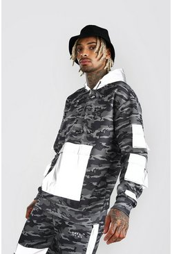Charcoal MAN Reflective Camo Panel Zip Through Hoodie