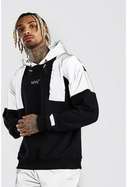 Black MAN Reflective Shoulder Panel Hoodie
