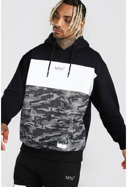 Charcoal MAN Reflective Camo Col Block Oversized Hoodie