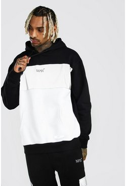 Black MAN Reflective Colour Block Oversized Hoodie