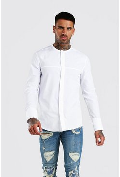 White Long Sleeve Collarless Cotton Smart Shirt
