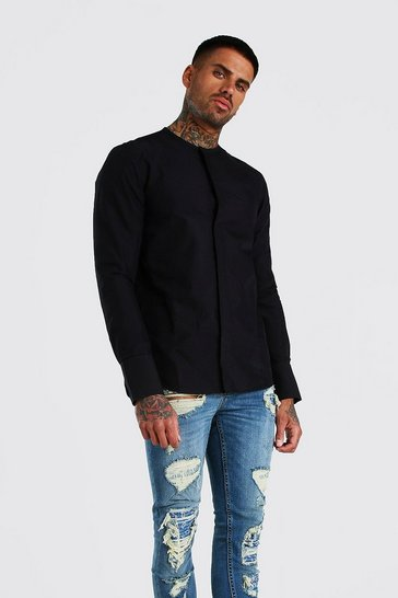 Black Long Sleeve Collarless Cotton Smart Shirt