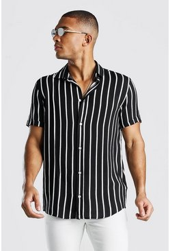 Black Short Sleeve Reg Collar Viscose Stripe Shirt