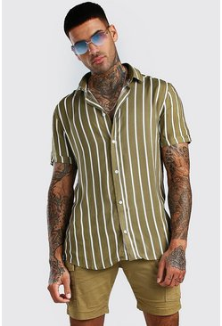 Khaki Short Sleeve Reg Collar Viscose Stripe Shirt