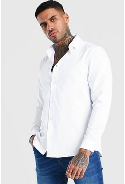 Long Sleeve Fine Texture Classic Formal Shirt, White