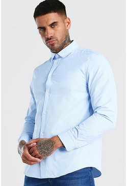 Long Sleeve Fine Texture Classic Formal Shirt, Blue