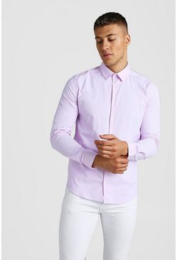 Pink Long Sleeve Muscle Fit Textured Formal Shirt