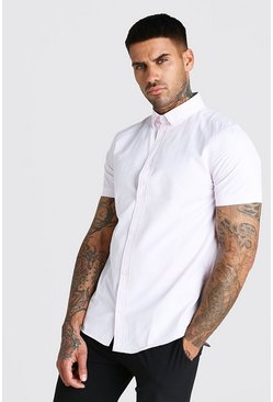 Short Sleeve Fine Texture Classic Formal Shirt, Pink