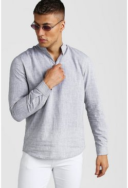 Grey Long Sleeve Grandad Collar Textured Shirt