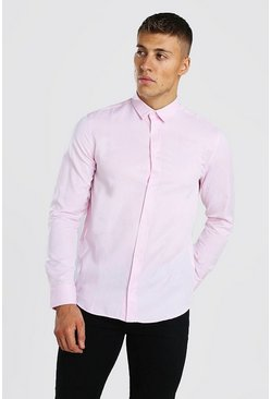 Chemise Oxford manches longues, Rose