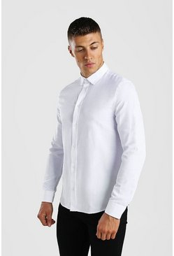 Chemise Oxford manches longues, Blanc