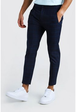 Skinny Black and Blue Check Smart Cropped Trouser