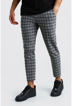 Skinny Tonal Grey Check Smart Cropped Trousers